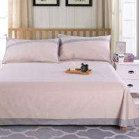 外贸出口纯棉床单单件简约纯色床单三件套双人枕套被单单人棉床单