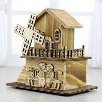 美式乡村新款小创意可爱小房子音乐存钱罐木艺桌面书柜摆件
