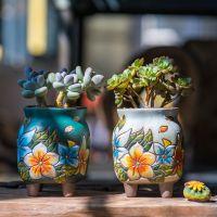 花盆多肉韩式器粗陶手绘盆陶瓷创意复古多肉植物韩式室内绿植盆