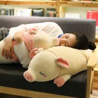 软体条纹趴猪毛绒玩具猪公仔布娃娃睡觉抱枕趴趴猪玩偶生日礼物送