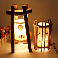大号塔形木艺台灯 简约复古木质小夜灯 创意居家装饰灯具批发C13