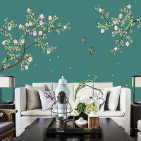 3D立体无缝壁纸中式手绘定制壁画客厅沙发电视背景无纺布墙纸批发