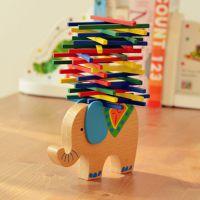 厂家批发彩棒平衡木制玩具 儿童动手益智亲子游戏 大象平衡玩具