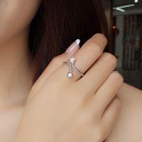 厂家直销925纯银戒指女 日韩潮人森系花朵开口戒子装饰食指戒指环