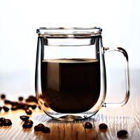 批发高硼硅玻璃水杯耐热玻璃杯 隔热双层杯咖啡杯马克杯带勺带盖