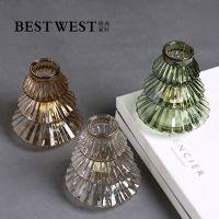 创意圣诞树造型玻璃烛台 简约现代餐桌蜡烛器皿家居装饰摆件