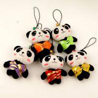 可爱毛绒唐装熊猫手机小挂饰中国风特色出国送老外小礼品