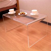 亚克力桌椅 亚克力居家家具 厂家供应有机玻璃黑茶色U型简易茶几