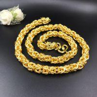 厂家直销越南沙金 布纹龙头项链 镀24K仿黄金饰品  沙金项链 沙金