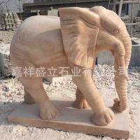 厂家供应晚霞红石雕大象 酒店门口摆放石头大象