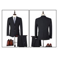 工作高档男装二粒扣黑色西装西服套装上海行欢厂家供应批发