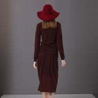 楚贝尔2018秋冬针织套装裙女长袖内搭毛衣半身裙两件套酒红色针织衫