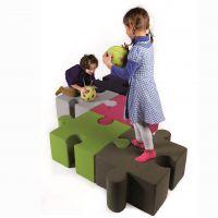 卡通拼图布艺沙发凳早教中心创意皮凳组合培训中心休息区拼接凳子