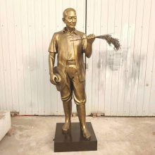 水稻之父袁隆平铸铜半身头胸雕像/农业杂交稻谷人物全身站立雕塑像/校园玻璃钢名人摆件