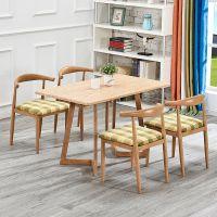 鑫跃仿实木铁艺牛角椅子咖啡厅奶茶店西餐厅桌椅组合餐厅桌椅包邮