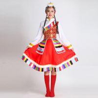 藏族舞蹈演出服成人西藏少数民族舞台服饰高档女蒙古族水袖表演服