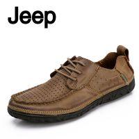 jeep吉普男新款JEEP男士真皮休闲鞋 头层牛皮冲孔透气潮流皮鞋子