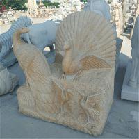 泉州厂家石雕动物孔雀 动物雕刻工艺品 园林摆件可定制
