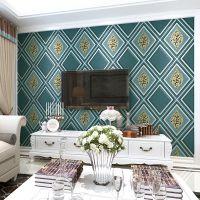 现代简约菱形软包鹿皮绒电视背景墙壁纸3D浮雕无纺布卧室客厅墙纸