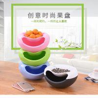 厂家直销创意懒人果盘嗑瓜子带耳水果盘环保麦香糖果盒会销赠品