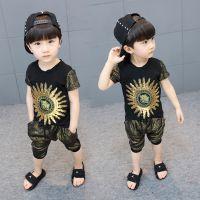 2018新款夏季韩版男童套装儿童短袖金色太阳花两件套男孩休闲童装