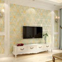 现代简约菱格仿软包鹿皮绒壁纸3D浮雕无纺布简欧卧室客厅背景墙纸