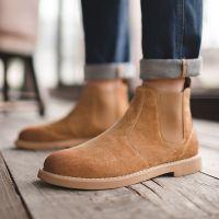 鞋子男潮鞋马丁靴冬季2018新款男士切尔西靴真皮低帮短靴英伦百搭