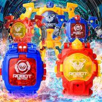 儿童机甲变形可看时间和日期多色创意变身机器人电子表男女孩玩具