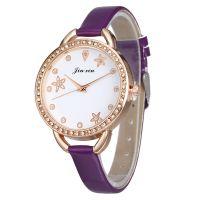 细窄带手表 皮带女款镶钻女士手表手链表大表盘PU时装表现货批发