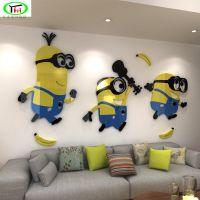 3d立体墙贴儿童房卡通客厅电视沙发背景墙装饰创意小黄人贴画亚克