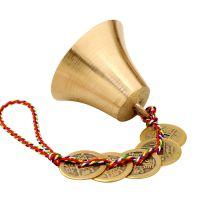 一件代发聚缘阁风水纯铜风铃挂件五帝铜钱铃铛小号五色线铜钟铜铃