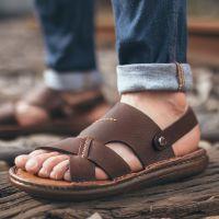 一件代发夏季沙滩鞋男士凉鞋真皮2017新款韩版休闲鞋防滑皮凉鞋