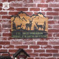 牛仔风情木板墙面挂件 酒吧餐厅创意木艺挂饰家居软装复古礼品