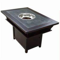 中式餐厅实木镶大理石火锅桌椅组合