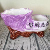 厂家定制 低温轻质瓷 手工彩绘环保时尚迷你花盆小发财树花瓶假花