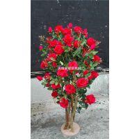 仿真玫瑰花盆栽 仿真假红玫瑰盆栽盆景浪漫节日礼物厂家定制玫瑰