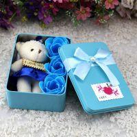 创意长方形铁盒三朵+小熊玫瑰花礼盒 香皂花老师生日教师节礼物