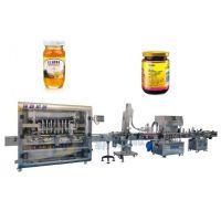 全自动八头酱料灌装生产线 RB-8瑞霸酱料灌装、旋盖、贴标一体机