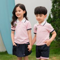 厂家直销莫代尔纯棉黄色小学生休闲运动夏装新款幼儿园园服套装定制