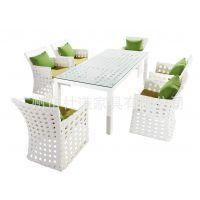 编藤桌椅 酒店户外桌椅 花园天台餐厅桌 成套一桌六椅