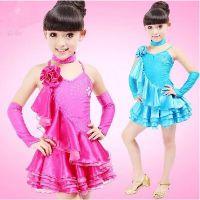 儿童拉丁舞服装新款长袖女童练功服少儿拉丁舞裙比赛舞蹈服表演服