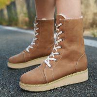 C8-1秋冬季新款加绒短靴棉靴雪地靴低跟时尚学生女鞋大码女靴子