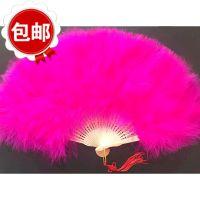 舞蹈扇子演出羽双面扇舞蹈折叠折扇女式古典舞孔雀古风羽毛夏季长