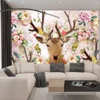 大型无缝整张壁画客厅电视背景墙纸沙发墙布唯美手绘童话麋鹿壁纸