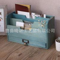 zakka杂货复古木质桌面抽屉式收纳盒办公用品文件整理盒储物木盒