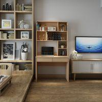 书桌书架组合带抽屉书柜简约家用台式电脑桌80cm儿童书房小写字桌