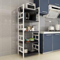 实木厨房置物架落地多层白色微波炉烤箱架厨房电器用品收纳整理架