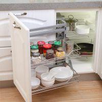 纳致-厨房橱柜L型不锈钢 转角小怪物 厨柜拐角拉篮 连动联动拉篮