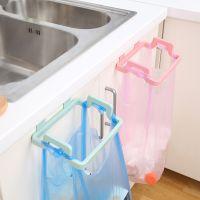 创意厨房门背式手提垃圾袋支架 家用橱柜门后抹布挂架垃圾架批发