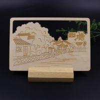 厂家供应木质旅游风光邮资片 木质雕刻景区载体功能纪念明信片来图来样定制
